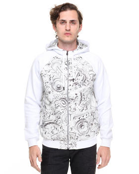 -FEATURES- - Woven Chain Link Print Hoody