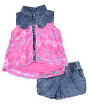 Sizes 4-6x - Kids - 2 PC SET - FLORAL PRINT WOVEN & ACID WASH SHORTS (4-6X)