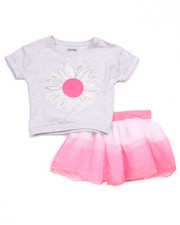 Sizes 4-6x - Kids - 2 PC SET - FRENCH TERRY DAISY TOP & TULLE SKIRT (4-6X)