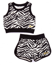 Sizes 4-6x - Kids - 2 PC SET- FRENCH TERRY ZEBRA PRINT TOP & SHORTS (4-6X)