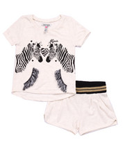 Sizes 4-6x - Kids - 2 PC SET- FRENCH TERRY ZEBRA TOP & SHORTS (4-6X)