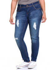 Fashion Lab - Destructed Heavy Stitch Studded Pockets Skinny Jean (Plus)