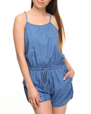 Fashion Lab - Racerback Drawstring Waist Denim Romper