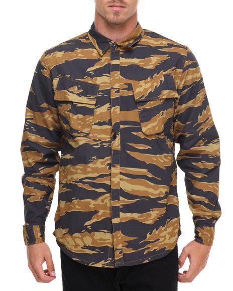 Huf Men Bdu Military L/S Button-Down Brown Large