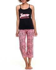 DRJ Lingerie Shoppe - Striped Floral Print  Cotton Capri Pj Set