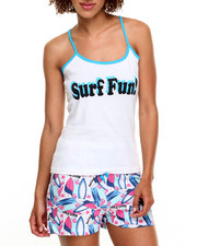 DRJ Lingerie Shoppe - Surf Fun Print  Cotton Capri Pj Set