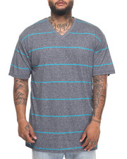 Basic Essentials - Basic Marled Yarn Striped V - Neck S/S Tee (B&T)