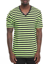 Basic Essentials - Basic Tri - Color Striped V - Neck S/S Tee