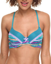 Baby Phat - Mixed Print Fishnet Detail Push-up Bra (Plus)