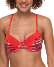 Intimates & Sleepwear - Mixed Print Fisnet Detail Push-up Bra (Plus)
