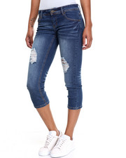 Capris - Destructed 5 Pocket Roll-Up Capri
