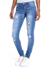 Women - Blue Skinny Stretch Destressed Denim