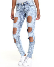 Fashion Lab - Med Cloud 3 Hole Skinny Jean w/rolled up cuff
