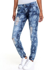 Fashion Lab - Destructed Floral Print Smocked Skinny Jean