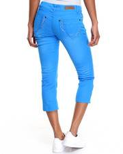 Capris - Top Stitched Rhinestones Pocket Detail Capri