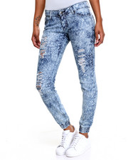 Fashion Lab - Destructed Elephant Skin Print Smocked Skinny Jean