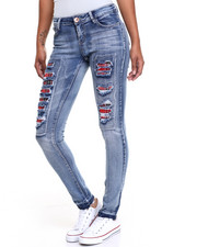 Jeans - Plaid Rips Stretch Skinny Jean