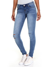 Fashion Lab - Blue Knee Slit Crinkle Skinny jean