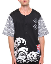 Shirts - Waves Print Tricot Jersey - Style Button - Down