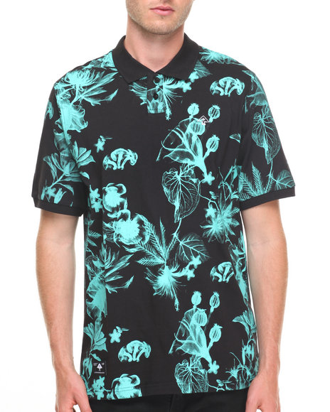 Lrg Men Floral Print Polo Black Small