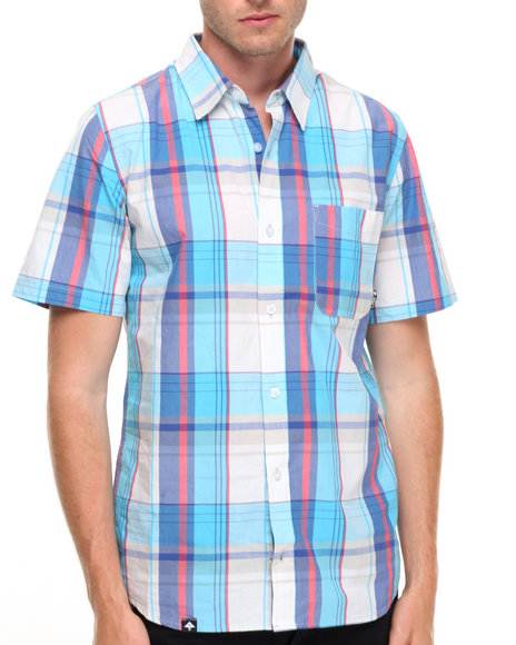 Lrg Men S/S Plaid Button-Down White Small