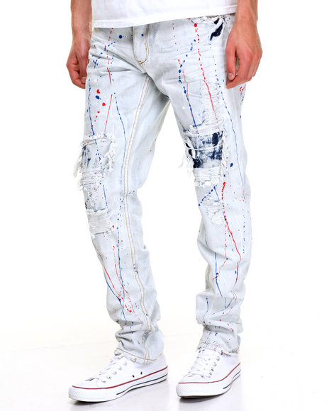 Heritage America Men Splatter Denim Jeans Light Wash 36x33