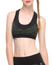 DRJ Performance Shoppe - Cracked Geo Print Mesh Inserts Racerback Performance Bra