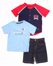 Sets - 3 PC SET - BASEBALL JERSEY, TEE, & DENIM SHORTS (4-7)