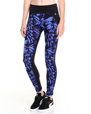 Leggings - Brush Strokes Print Mesh Back Panel Performance Legging