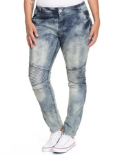 Fashion Lab - Marble Wash Moto Skinny Jean (Plus)