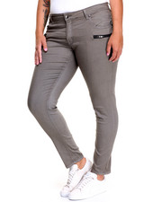 Fashion Lab - Zip Trim Pockets Twill Skinny Pant (Plus)