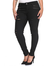 Fashion Lab - Rips Zip Trim Skinny Twill Pant (Plus)