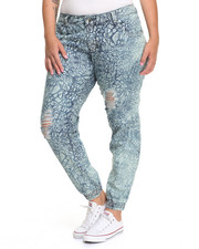 Fashion Lab - Destructed Elephant Print Smocked Skinny Jean (Plus)