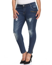 Fashion Lab - Destructed Zip Trim Skinny Jean (Plus)