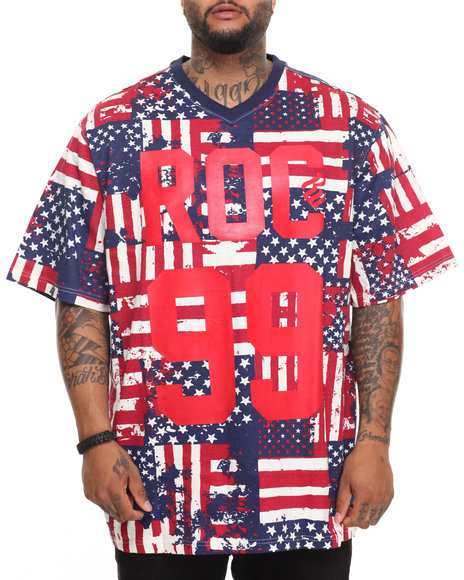Rocawear Men Allegiance S/S Knit Tee (B&T) Navy 5XLB
