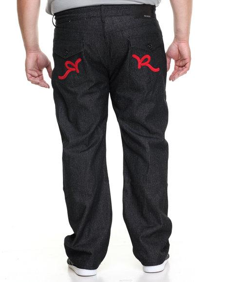 Rocawear Men R-Flap Jeans (B&T) Black 50x32