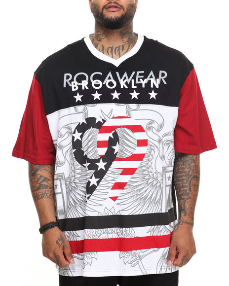 Rocawear Men Patriot S/S Knit Tee (B&T) Black 6XLB