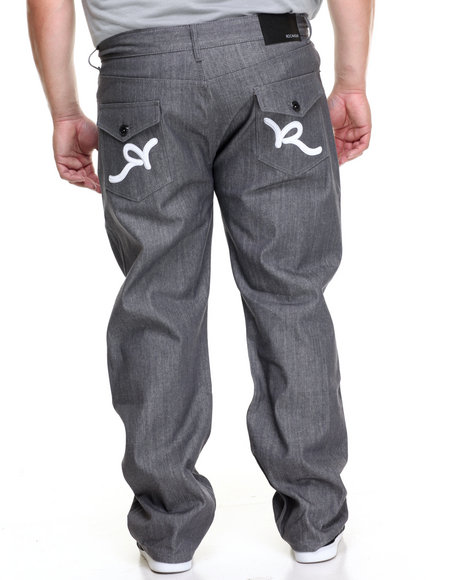 Rocawear Men R-Flap Jeans (B&T) Grey 48x34