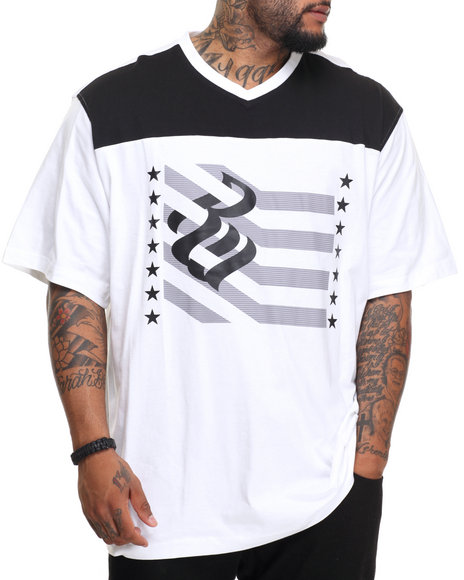 Rocawear Men Crossover S/S Knit Tee (B&T) White 3XLB