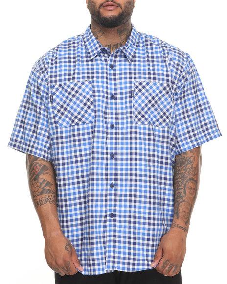Rocawear Men Pattern 01 S/S Button-Down (B&T) Blue 4XLB