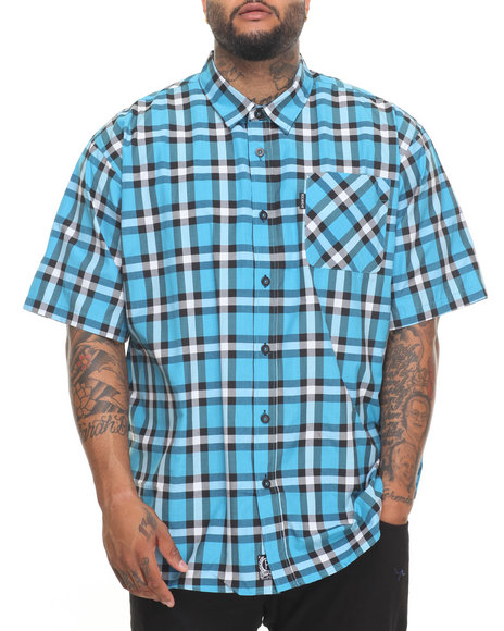 Rocawear Men Pattern 02 S/S Button-Down (B&T) Blue 4XLB