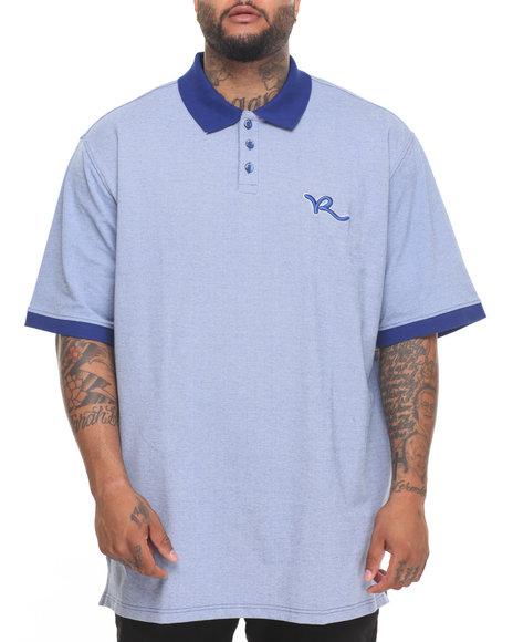 Rocawear Men Shadow Twill S/S Polo (B&T) Dark Blue 6XLB