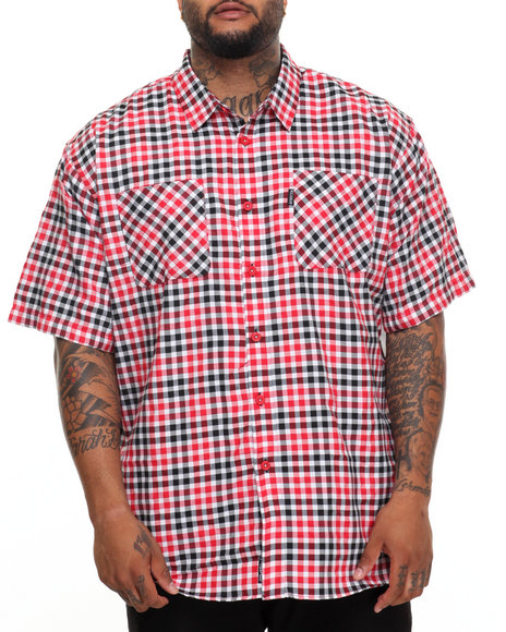 Rocawear Men Pattern 01 S/S Button-Down (B&T) Red 6XLB