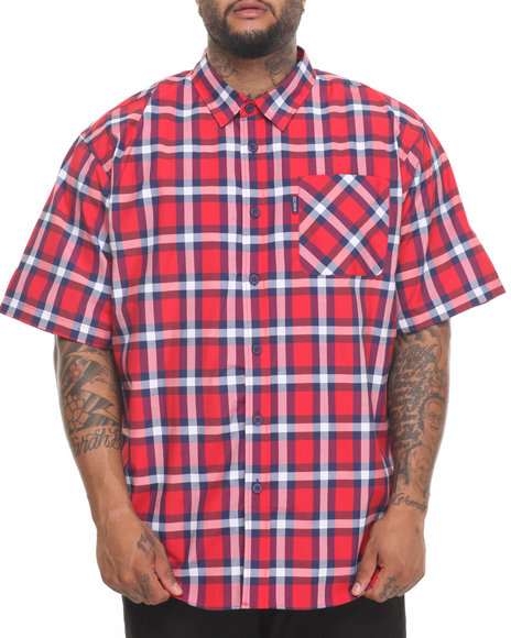 Rocawear Men Pattern 02 S/S Button-Down (B&T) Red 5XLB