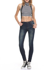 Jeans - Suspenders Stretch Skinny Roll Cuff Jean