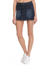 Bottoms - Denim Button-Down Mini Skirt