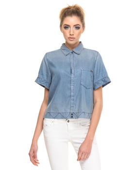 -FEATURES- - DE-HACHI CROPPED DENIM SHIRT