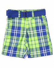 Bottoms - BELTED PLAID CARGO SHORTS (2T-4T)