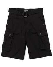 Boys - BELTED PLAID CARGO SHORTS (4-7)
