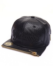 Hats - YANG FAUX LEATHER ZIPPER - FRONT SNAPBACK HAT